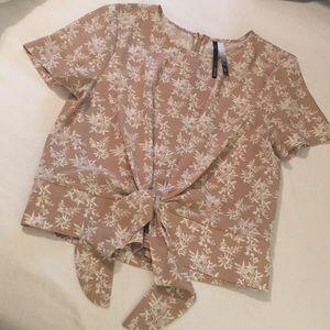 Kensie Floral Print Tie Front Top